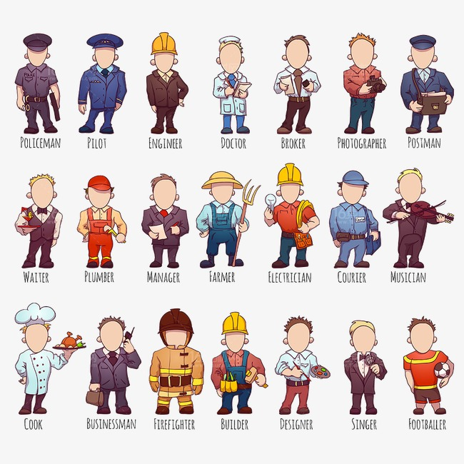 Careers clipart cartoon. Occupation people career figures