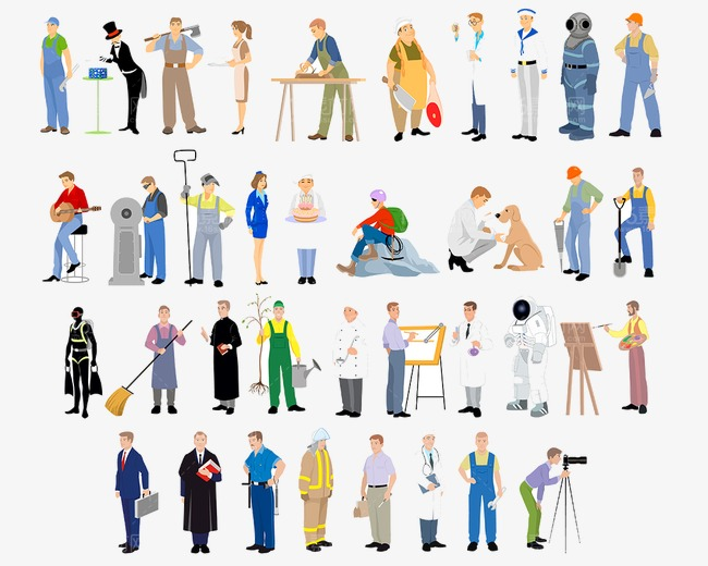 Occupation people figures png. Career clipart cartoon