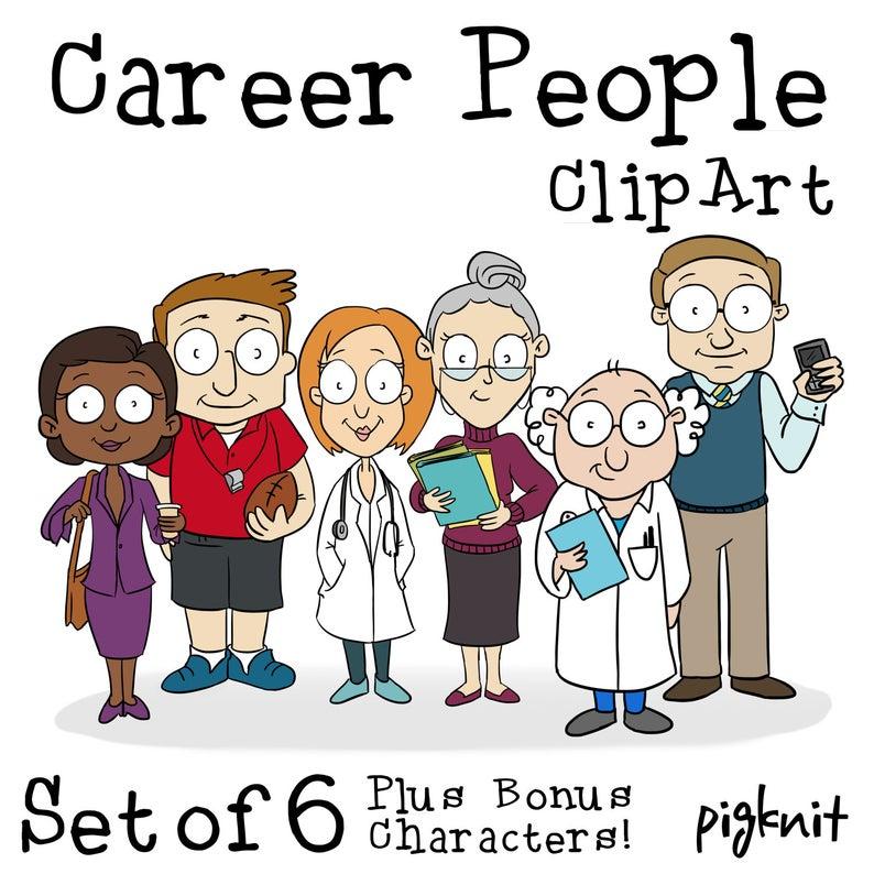 Careers clipart cartoon. Career people printable digital