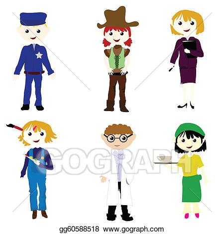 Careers clipart cartoon. Vector stock career kids