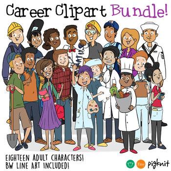 Careers clipart multimedia. Bundle career characters in