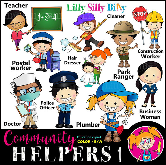Careers clipart community helper. Helpers set for occupations