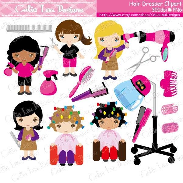 Cute girls hair dresser. Careers clipart cartoon