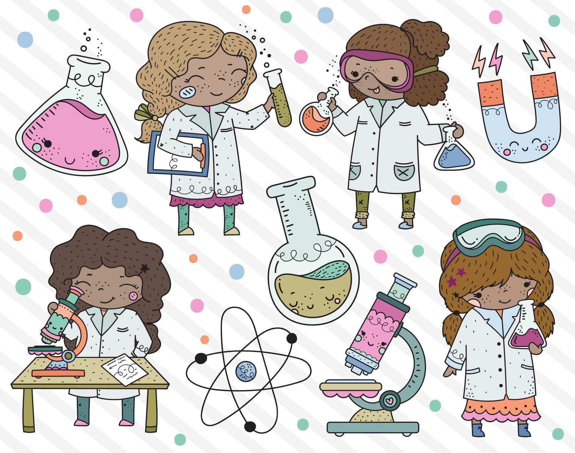 Science girl stem girls. Career clipart cute