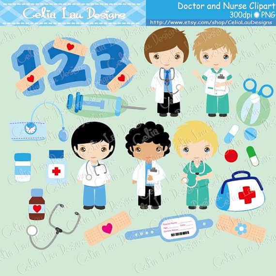 Boys nurse and doctor. Careers clipart cute