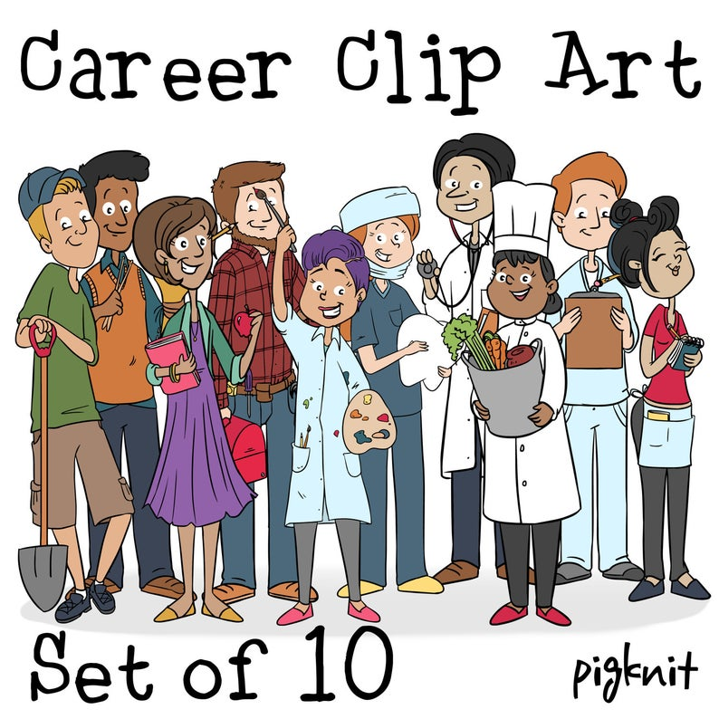 Cartoon people printable digital. Career clipart different career