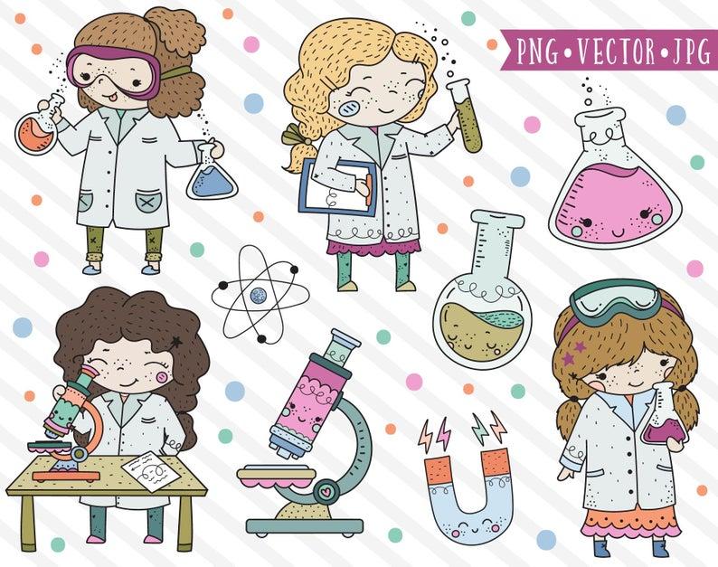 Career clipart illustration. Cute science girl stem