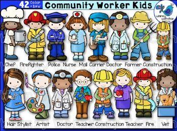 Community worker kids clip. Careers clipart kid
