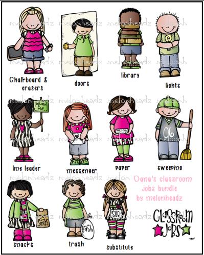 Melonheadz clipart job. Classroom jobs print and