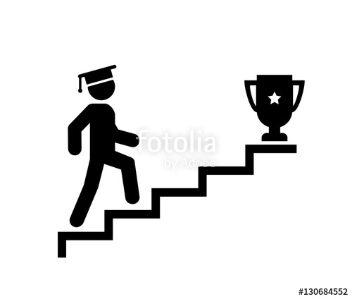 Upstairs icon sign walk. Career clipart stair