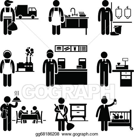 Vector illustration low income. Cashier clipart silhouette
