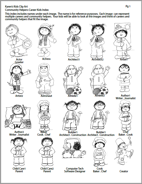 Careers clipart black and white. Community helpers career clip