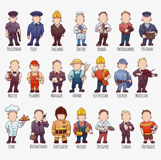 Occupation people png backgrounds. Careers clipart cartoon