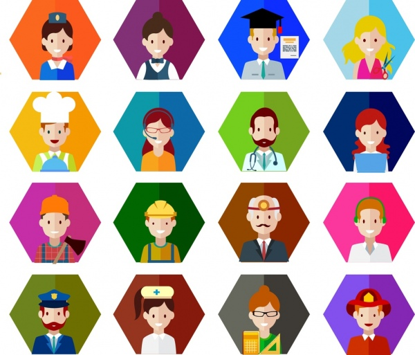 People shopping icons collection. Careers clipart cartoon