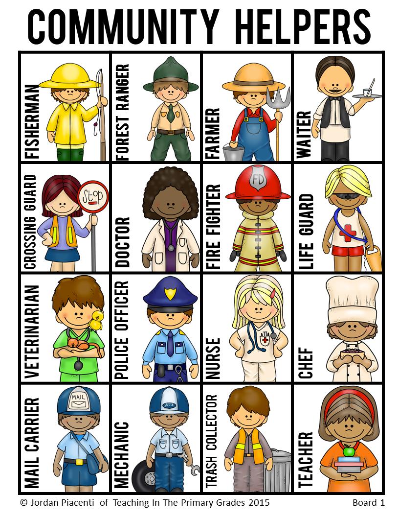 Helpers and occupations bingo. Careers clipart community helper