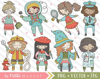 Careers clipart cute. Career girl etsy set