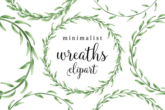 Watercolor wreath laurel frame. Careers clipart minimalist