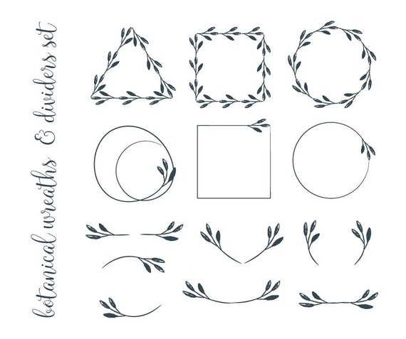 Careers clipart minimalist. Grunge botanical wreaths and