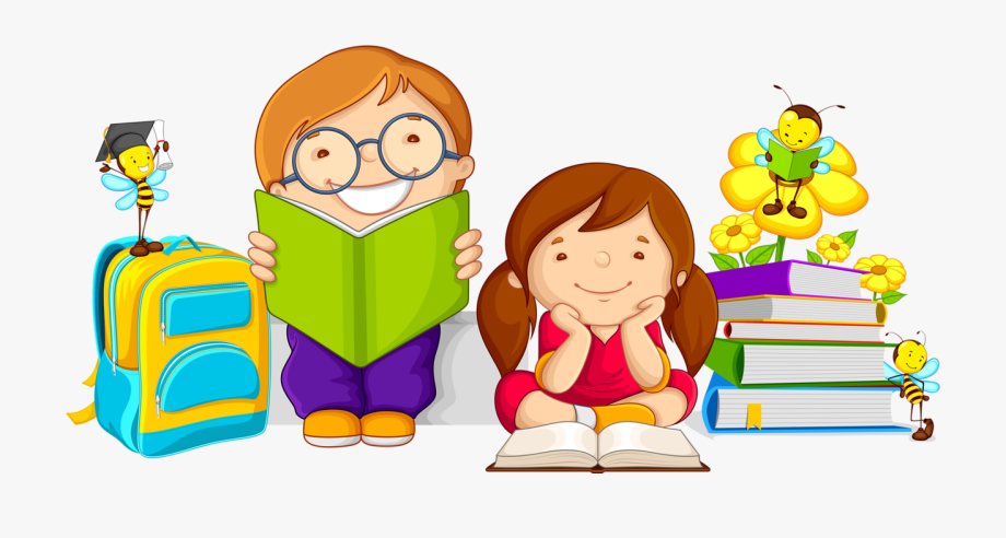 Kids studying cartoon free. Caring clipart book
