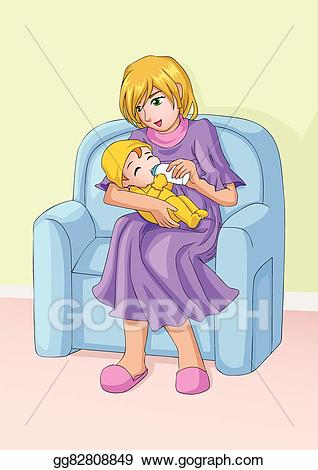 Vector stock mom and. Mother clipart child care