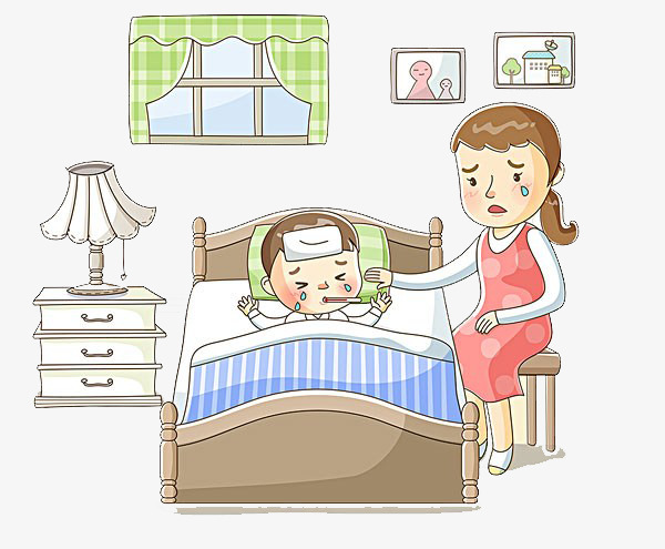 Mother care for sick. Caring clipart caring mom