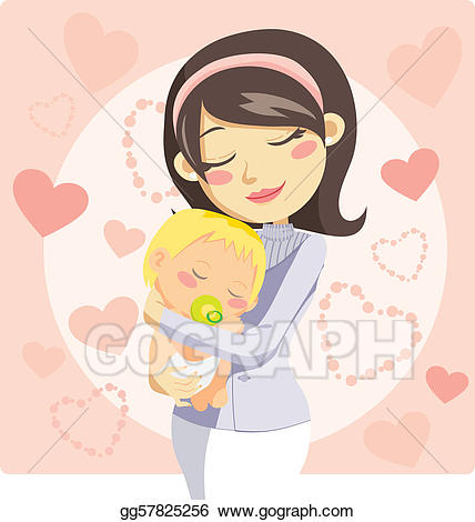 Vector art drawing gg. Caring clipart caring mother