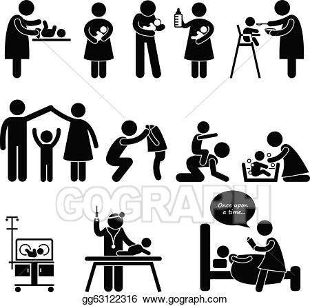 Caring clipart caring mother. Vector stock nanny father
