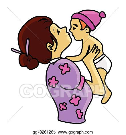 Vector art and eps. Mother clipart child care