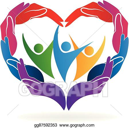 Caring clipart caring person. Vector art hands heart