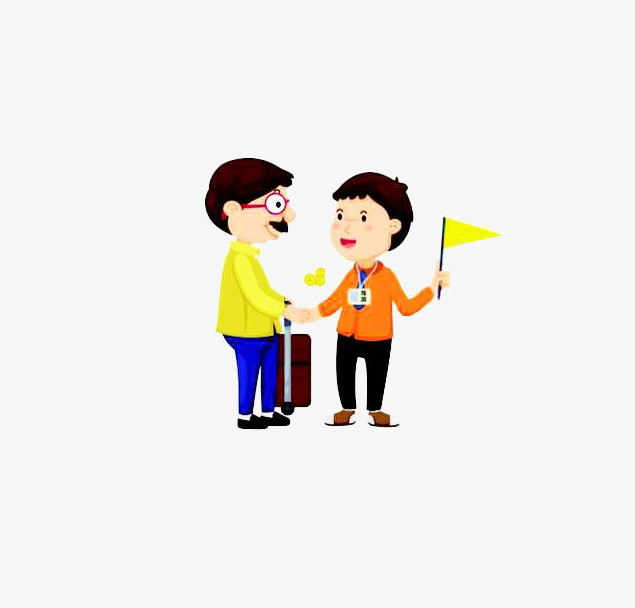 Illustrations enthusiastically guide people. Caring clipart cartoon