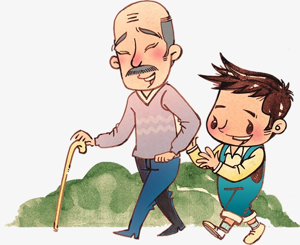 For the elderly walk. Caring clipart cartoon