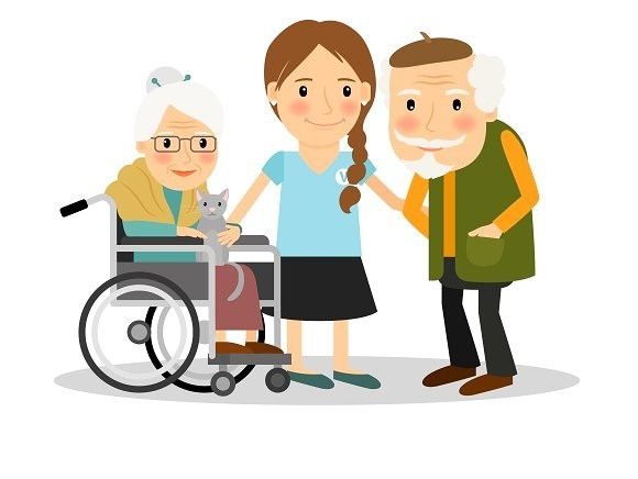 For patients human icons. Caring clipart elderly care