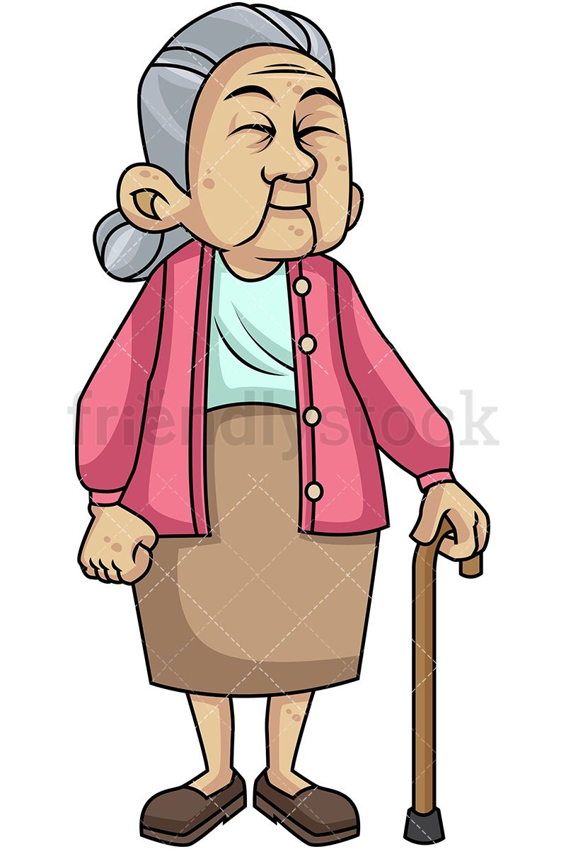 Caring clipart peer. Old woman with walking
