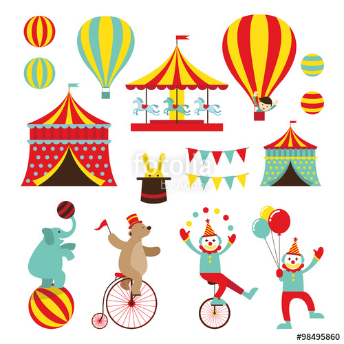 Circus objects flat icons. Carnival clipart amusement park