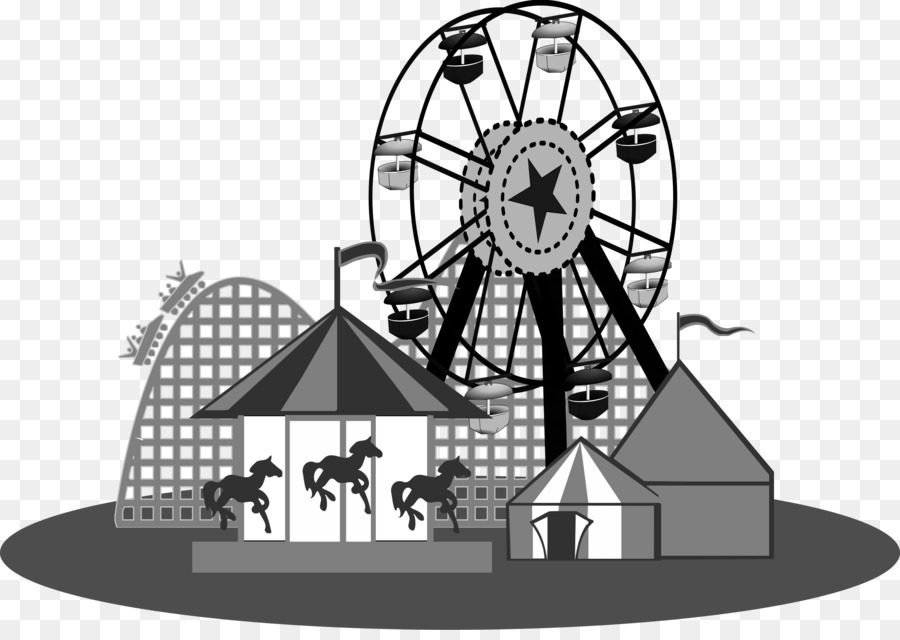 Amusement park traveling clip. Carnival clipart black and white