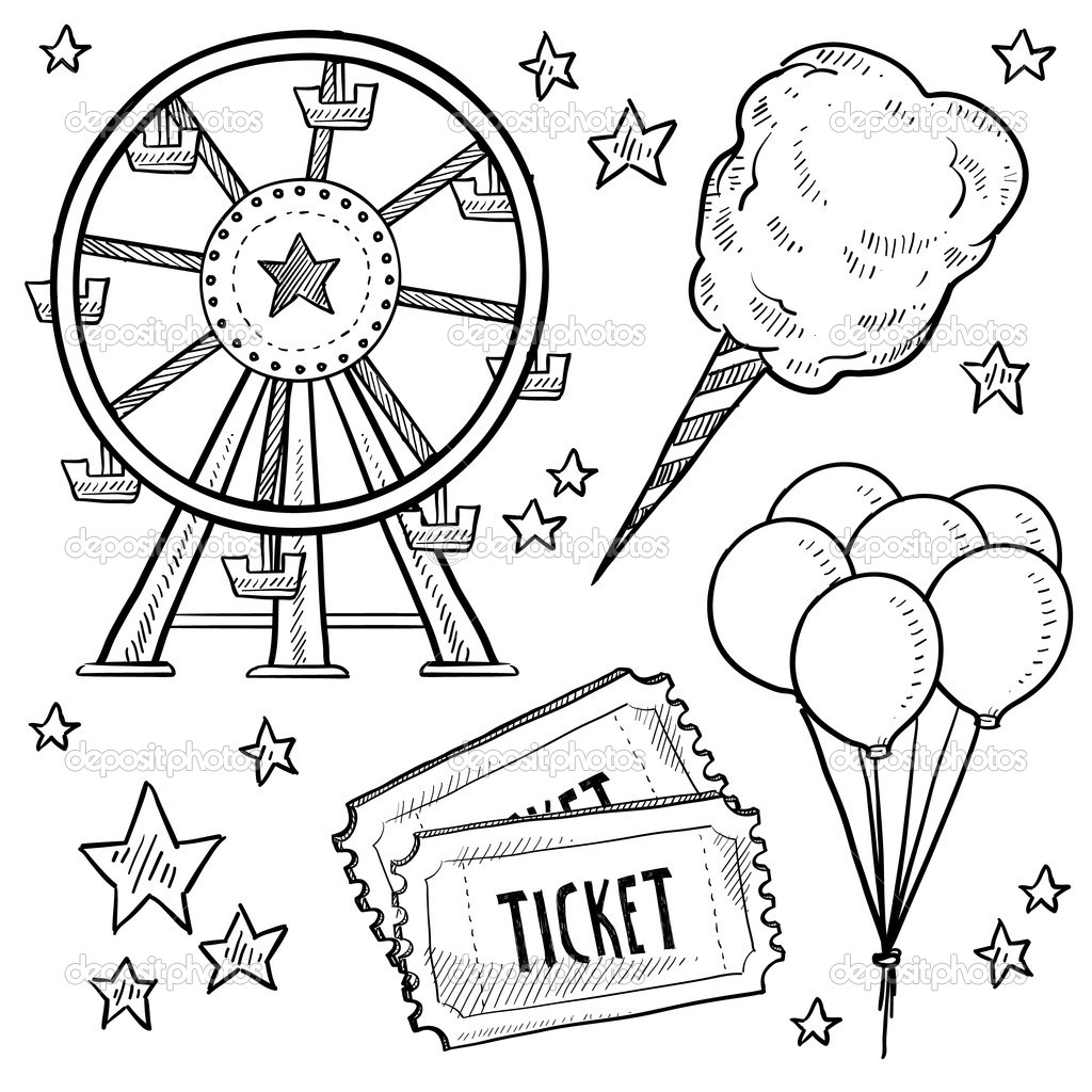 collection of games. Carnival clipart black and white