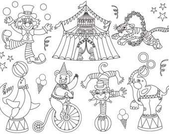 Carnival clipart black and white. Circus clip art digital