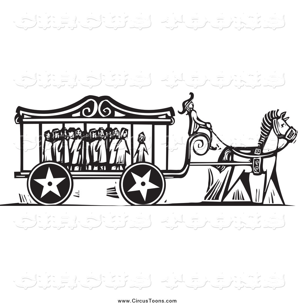 Carnival clipart black and white. Circus of a carriage