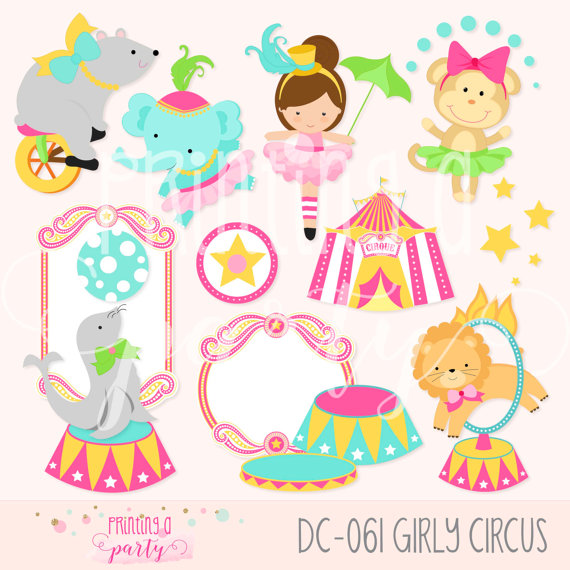 Circus girl animals party. Carnival clipart carnivale