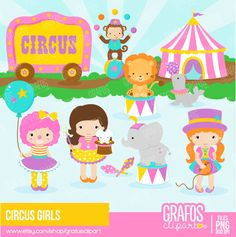 Carnival clipart carnivale. Circus girl animals party