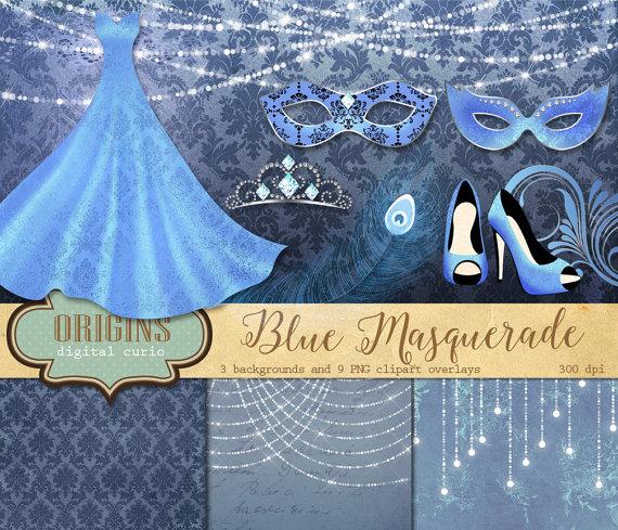 Carnival clipart carnivale. Blue masquerade masks clip
