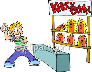 Carnival clipart cartoon. Boy playing game royalty