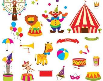 Etsy circus digital set. Carnival clipart clip art
