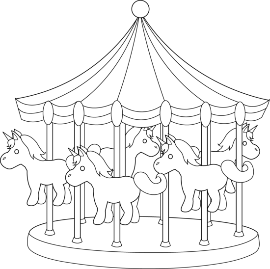 Carnival clipart drawing. Carousels drawings