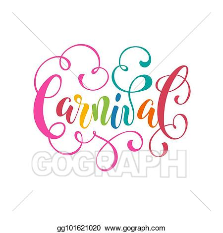 Vector art wording isolated. Carnival clipart drawing