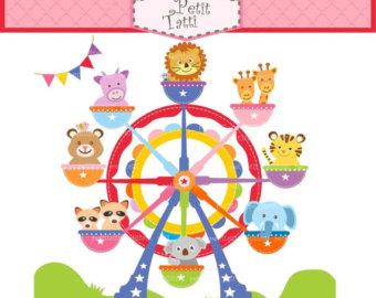 Etsy on sale clip. Carnival clipart ferris wheel