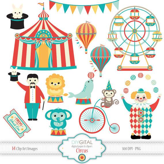 Circus clip art clown. Carnival clipart ferris wheel
