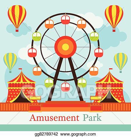 Vector amusement park fun. Carnival clipart ferris wheel