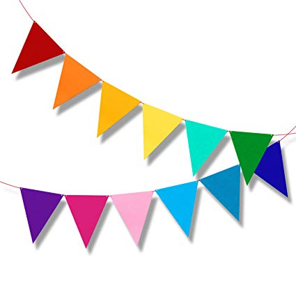 Carnival clipart flag banner. Multicolor bunting pennant flags