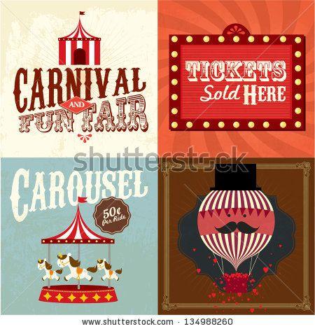 Vintage fun fair template. Carnival clipart funfair
